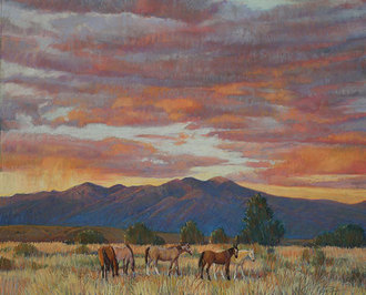 Taos Valley Sunset Horses