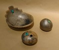 Micaceous Blessing Bowl with Kiva Steps and Turquoise Stone 4.75 x 5.5 x 2.5 $ 50  /  Micaceous Seed Pots  $ 40 each