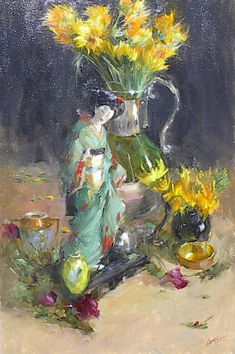 Sunflowers and Figure